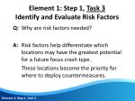 element 1 step 1 task 3 identify and evaluate risk factors1