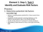 element 1 step 1 task 3 identify and evaluate risk factors3
