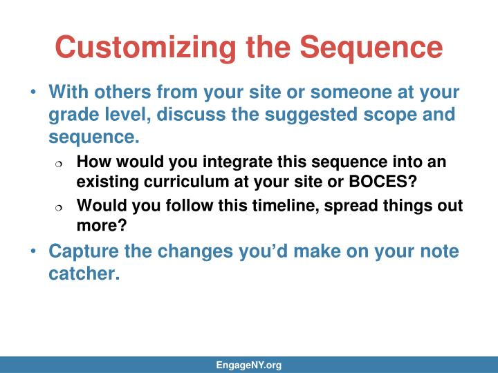 Customizing the Sequence