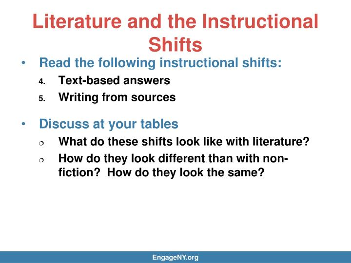 Literature and the Instructional Shifts