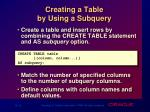 creating a table by using a subquery