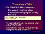 truncating a table