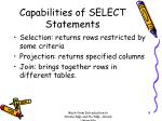 capabilities of select statements