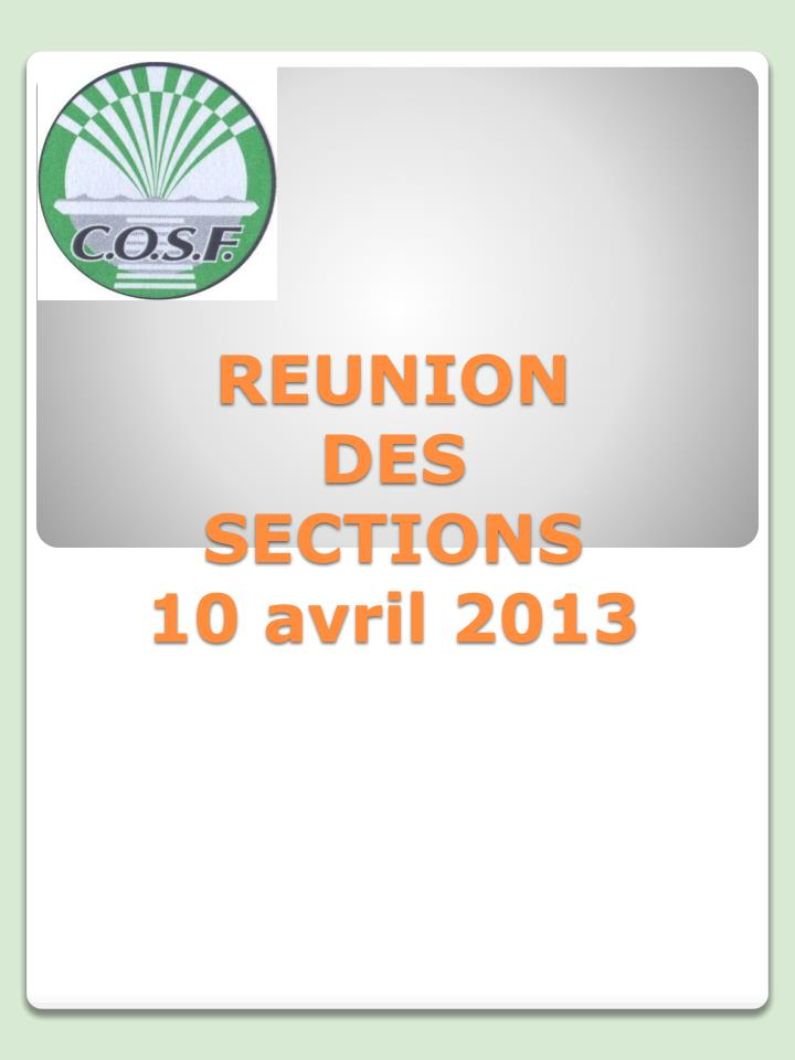 Reunion des sections 10 avril 2013