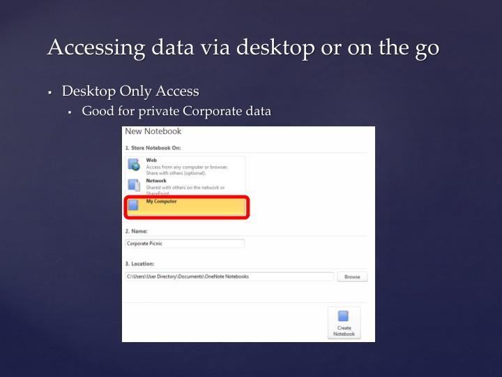 Accessing data via desktop or on the go