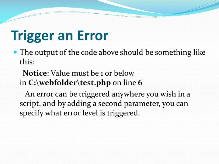 Trigger an Error