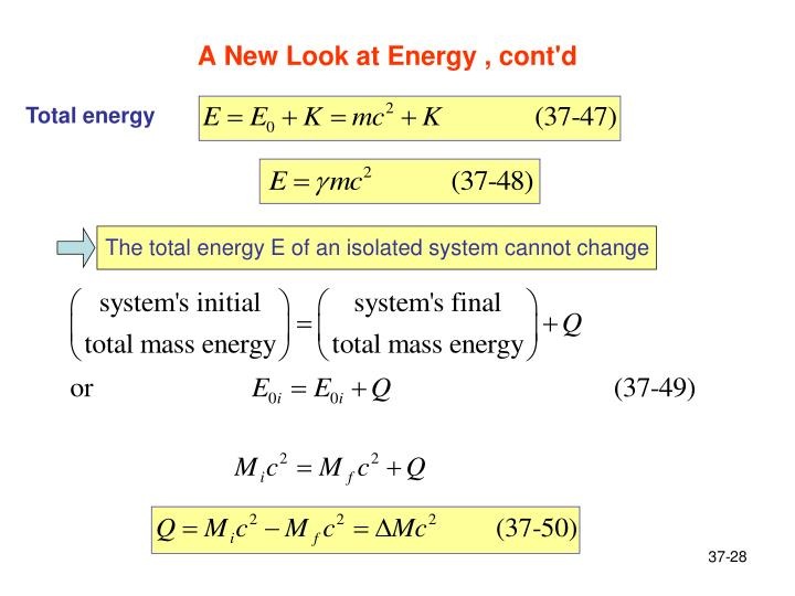 A New Look at Energy , cont'd