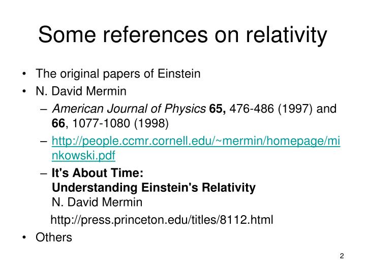 Some references on relativity