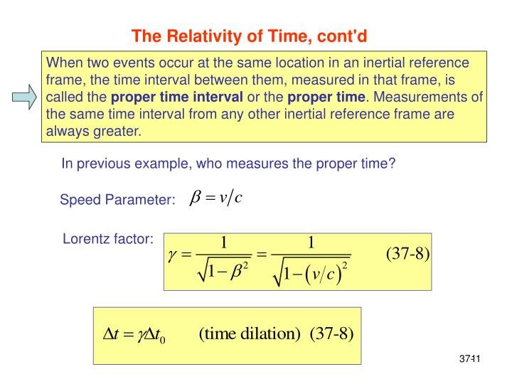 The Relativity of Time, cont'd