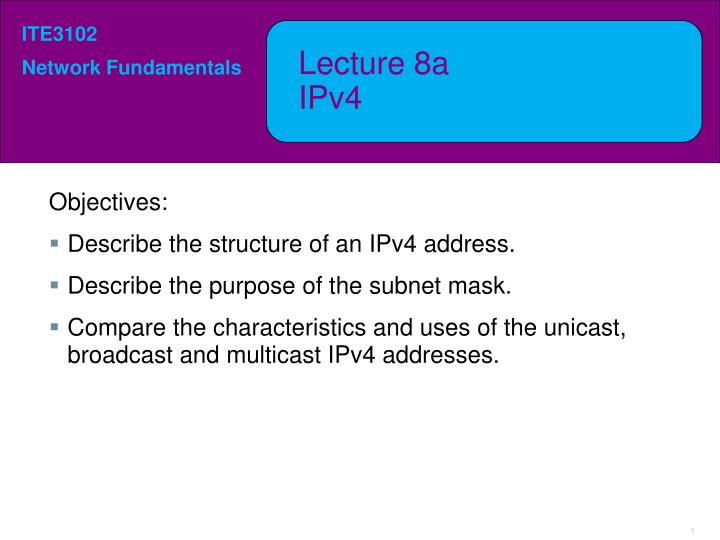 lecture 8a ipv4 n.