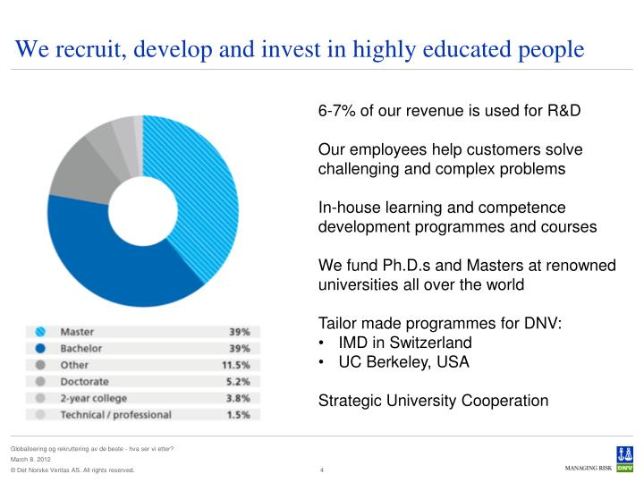 We recruit, develop and invest in highly educated people