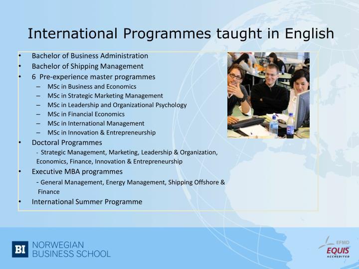 International Programmes taught in English