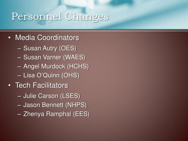 Personnel changes1