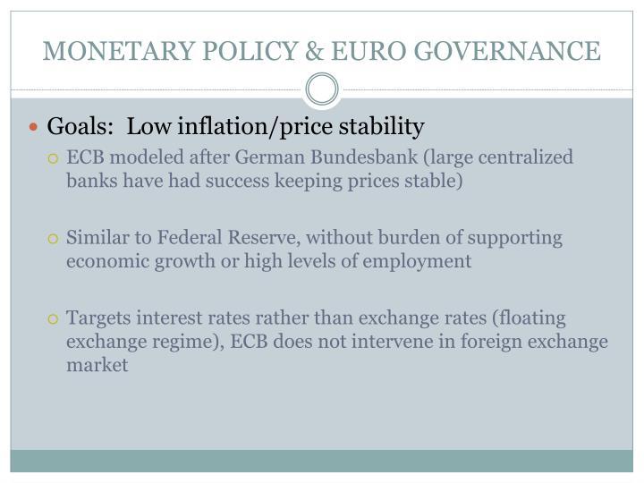 MONETARY POLICY & EURO GOVERNANCE