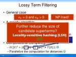 lossy term filtering