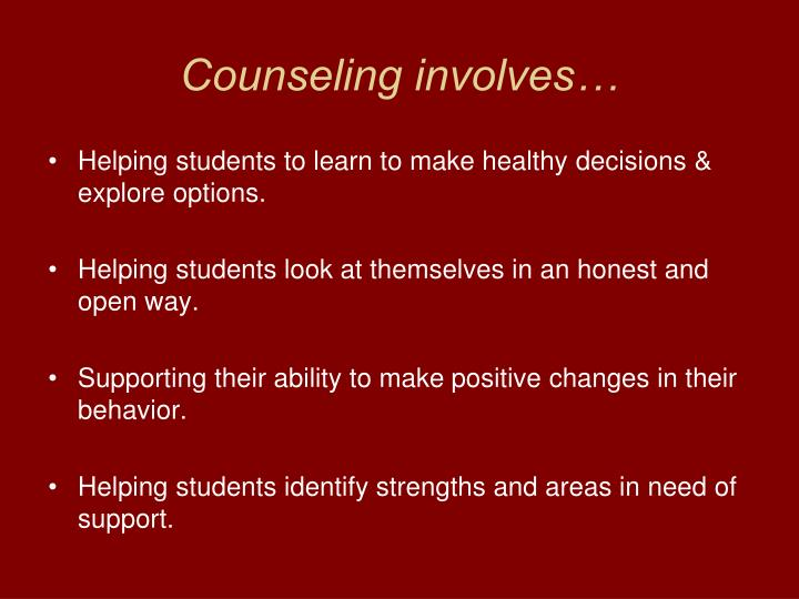 Counseling involves…