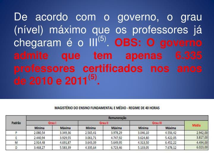 De acordo com o governo, o grau (nível) máximo que os professores já chegaram é o III