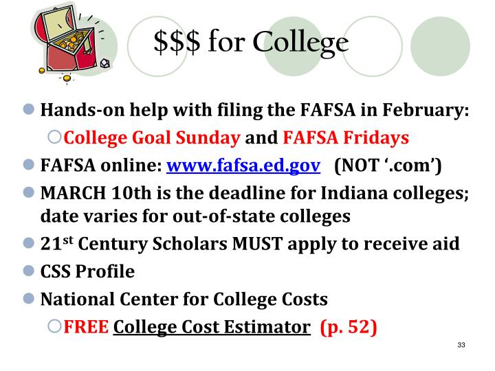 $$$ for College