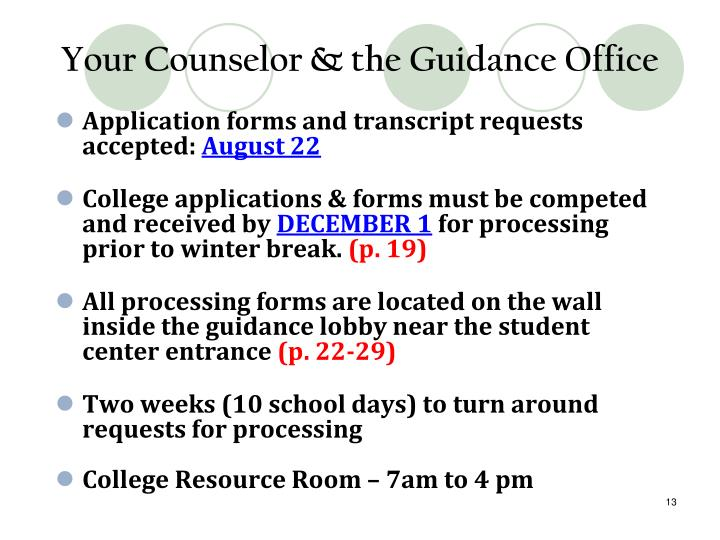 Your Counselor & the Guidance Office