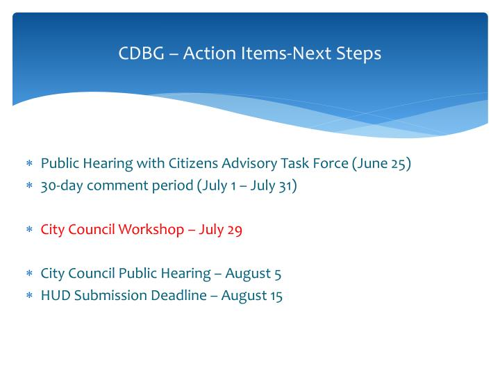 CDBG – Action Items-Next Steps