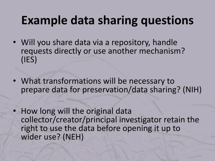 Example data sharing questions