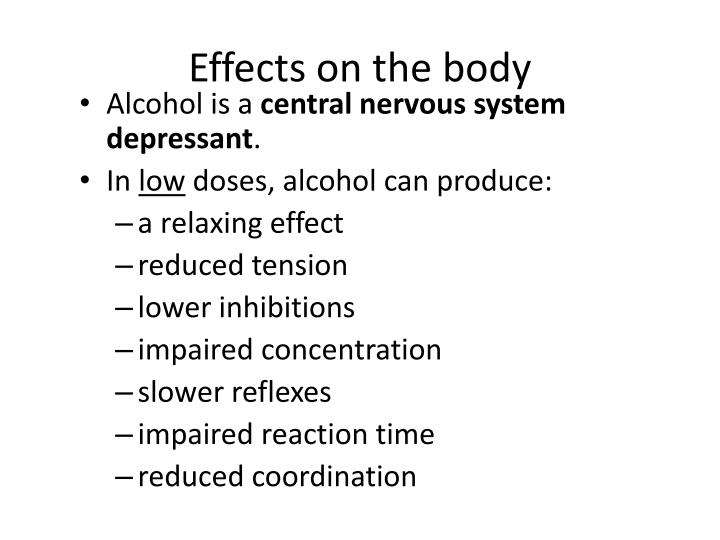 a paper on alcohol as central nervous system depressant In alison's free diploma course, learn about mental health and mental illness through a range of topics such as substance abuse and depression 2 opioids (narcotics) use 3 alcohol as a central nervous system depressant.