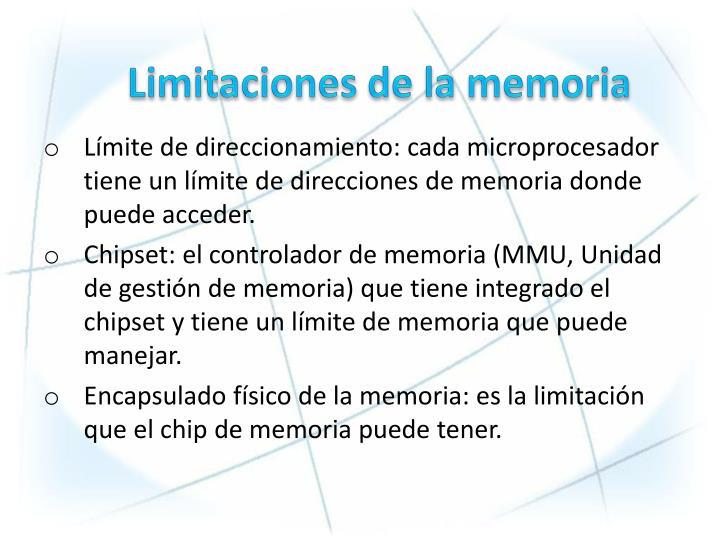 Limitaciones de la memoria