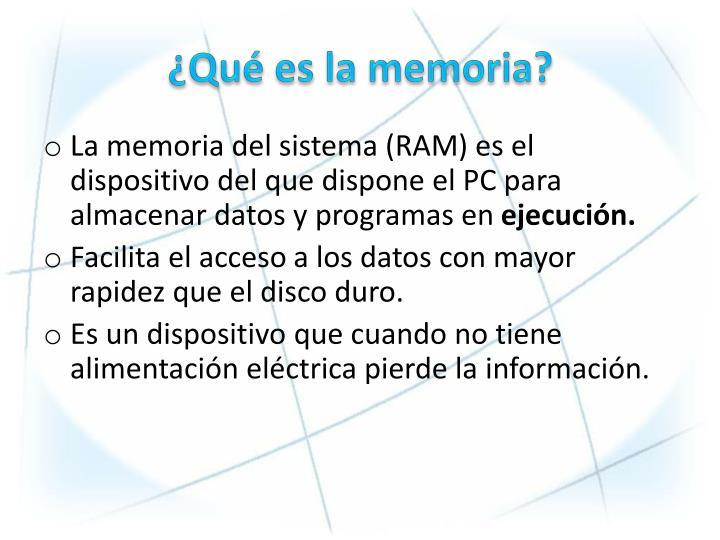 Qu es la memoria