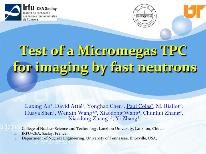 Test of a micromegas tpc for imaging by fast neutrons