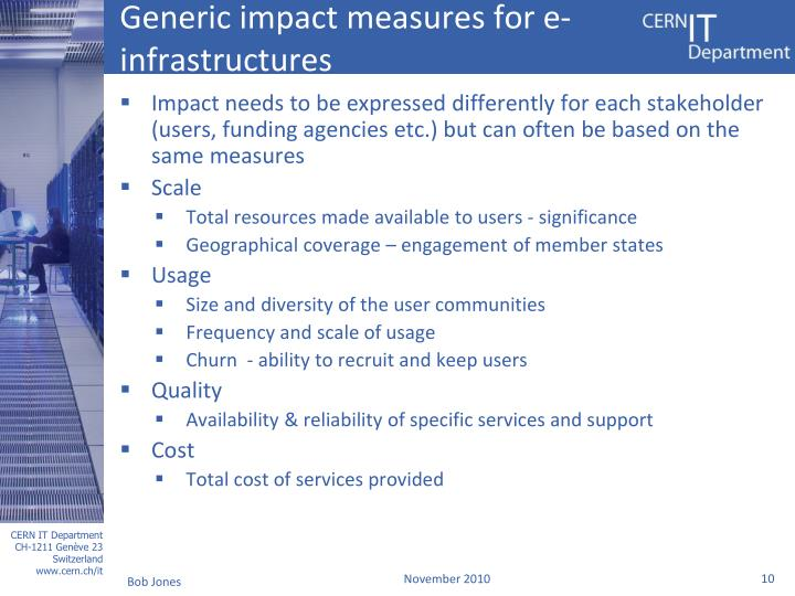 Generic impact measures for e-infrastructures