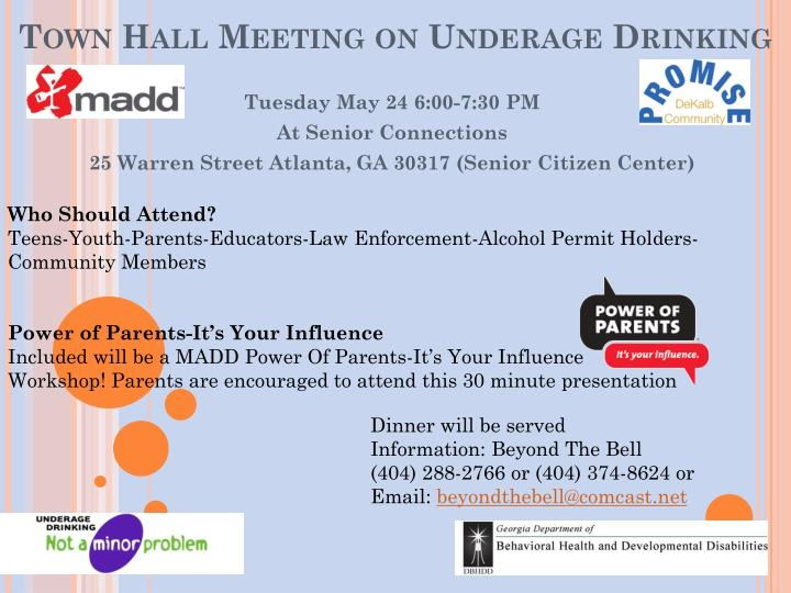 town hall meeting on underage drinking n.