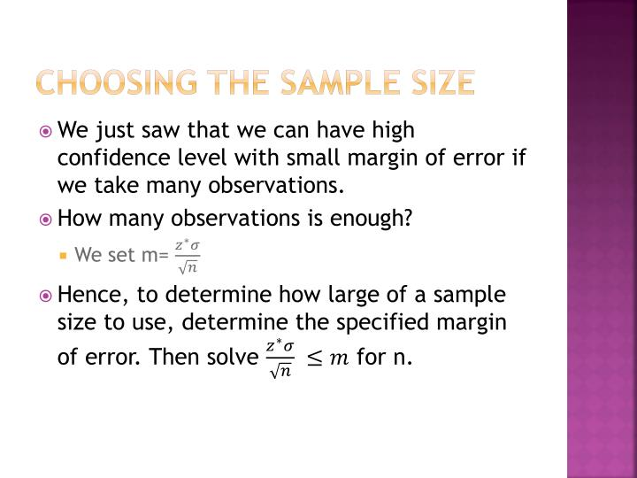 Choosing the sample size