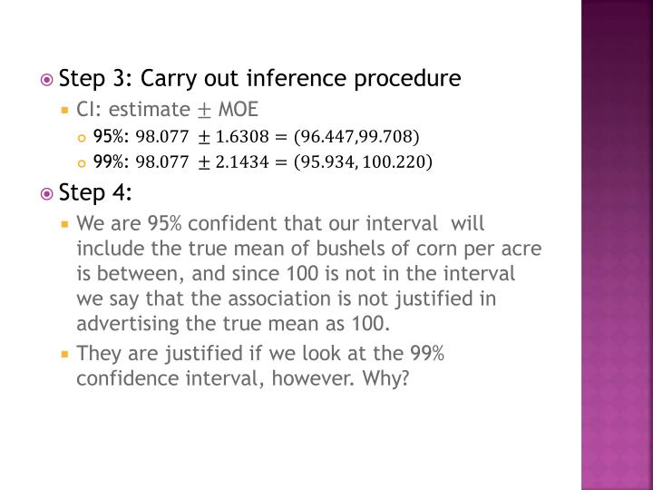 Step 3: Carry out inference procedure