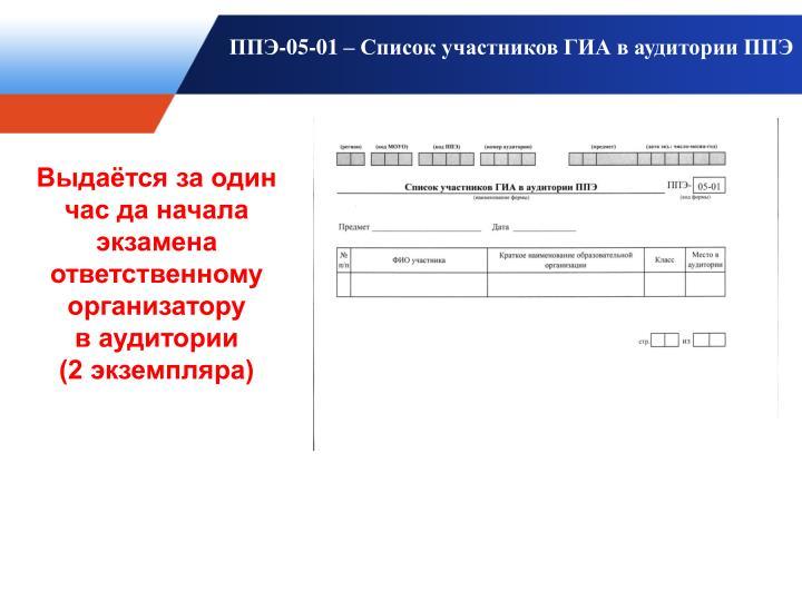 ППЭ-05-01 – Список участников ГИА в аудитории ППЭ
