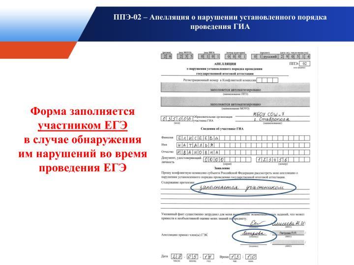 ППЭ-02 – Апелляция о нарушении установленного порядка