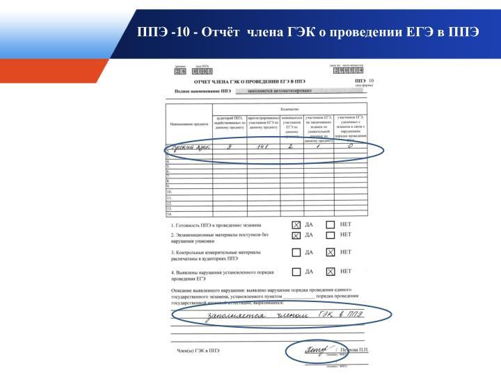 ППЭ -10 - Отчёт  члена ГЭК о проведении ЕГЭ в ППЭ