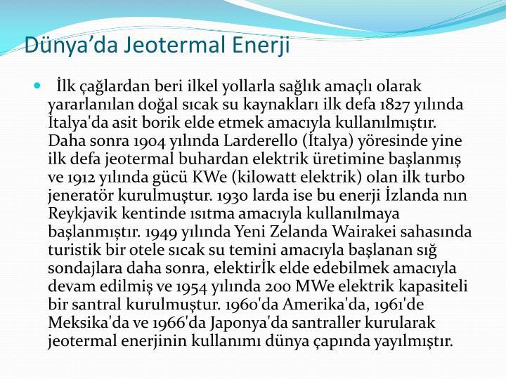 Dünya'da Jeotermal Enerji