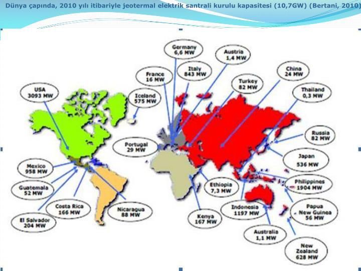 Dünya çapında, 2010 yılı itibariyle jeotermal elektrik santrali kurulu kapasitesi (10,7GW) (