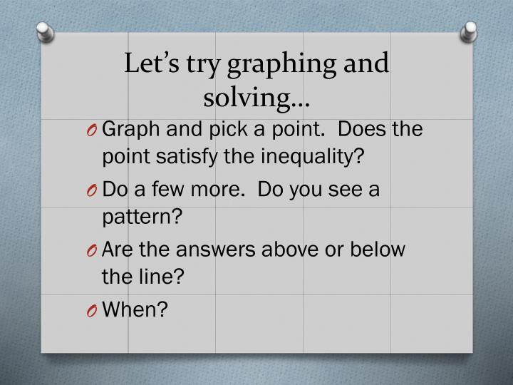 Let s try graphing and solving