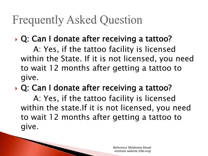 Ppt blood drive powerpoint presentation id 3244966 for Can you give blood after getting a tattoo