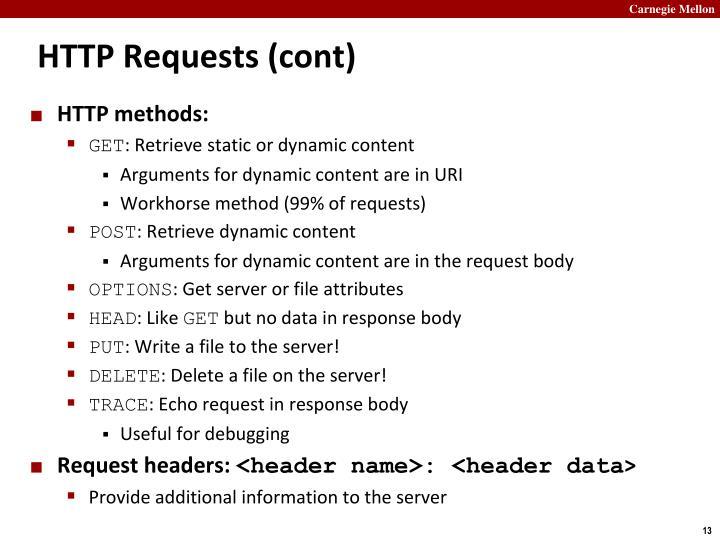 HTTP Requests (cont)