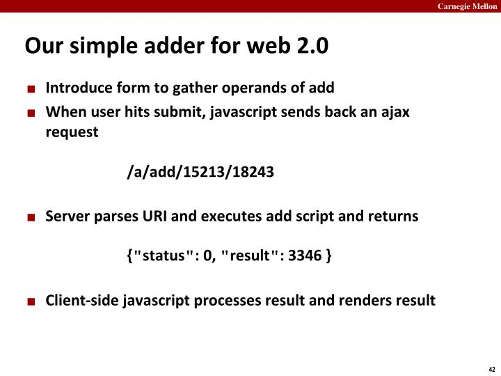 Our simple adder for web 2.0