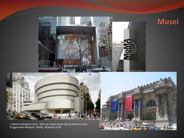 L'offerta culturale è ricca . Solo per citare alcuni dei più famosi musei : Guggenheim Museum, MoMa, Museum of Art.