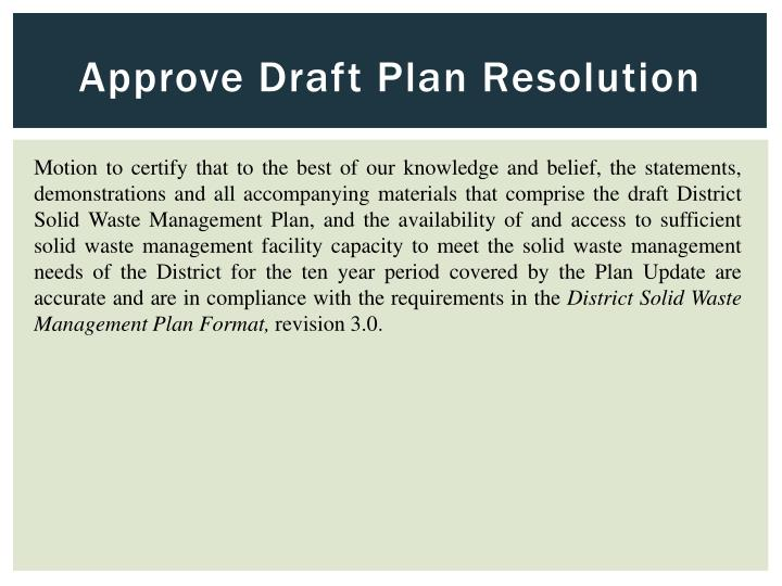 Approve Draft Plan Resolution