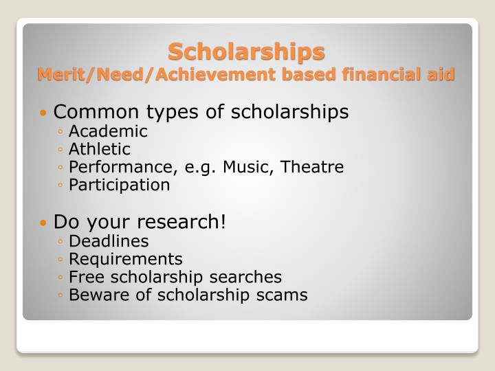 Common types of scholarships