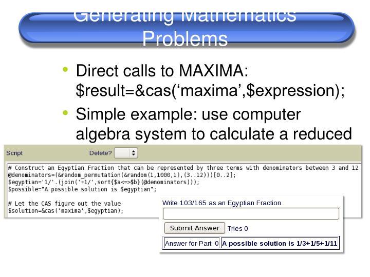 Generating Mathematics Problems