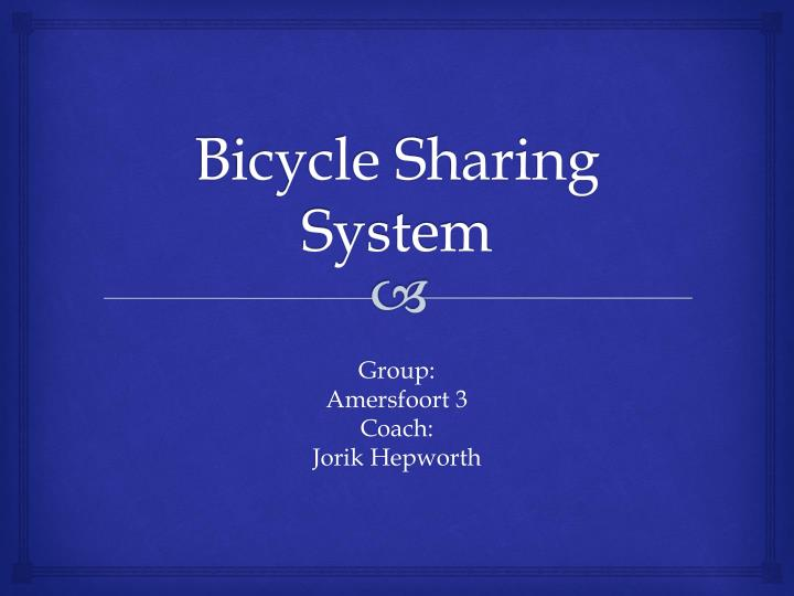 bicycle sharing system n.