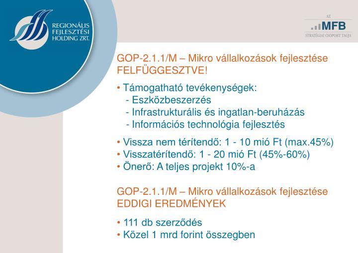 GOP-2.1.1/M – Mikro vállalkozások fejlesztése