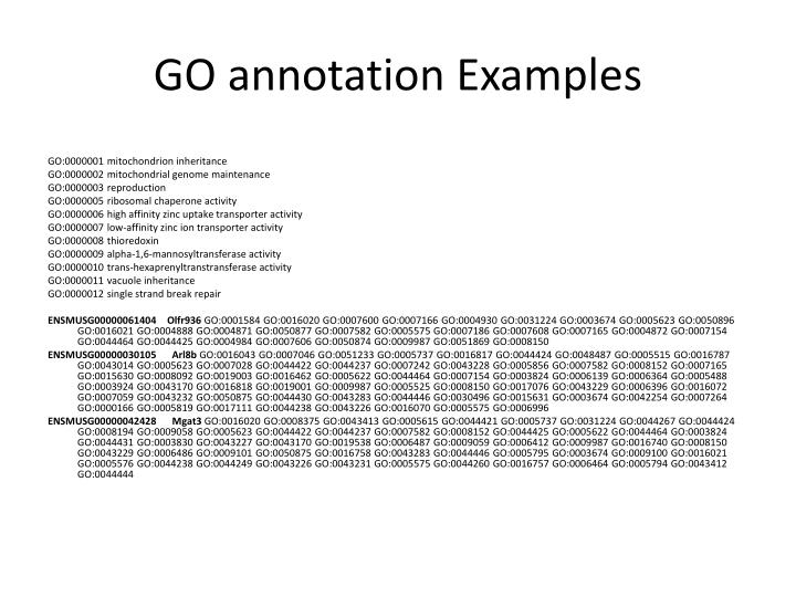 GO annotation Examples