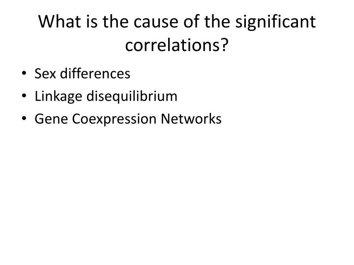 What is the cause of the significant correlations?